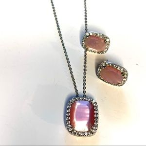 SILVER PENDANT NECKLACE AND EARRINGS VTG